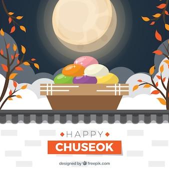 Mooie chuseok-compositie met plat ontwerp
