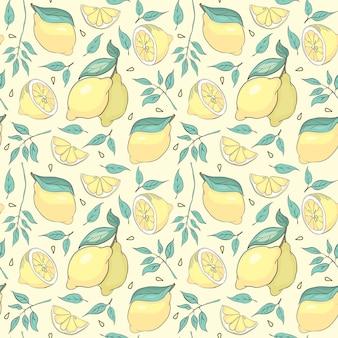 Mooie citroen achtergrond. vector handgetekende naadloze patroon op gele achtergrond