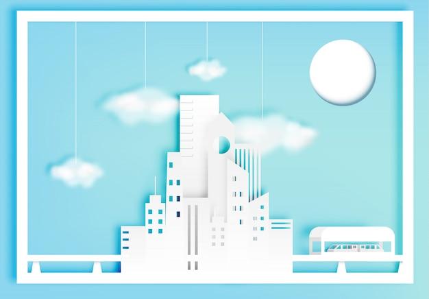 Mooie cityscape papierkunststijl met katoenen wolken vectorillustratie