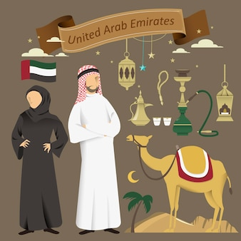 Mooie collectie cultuurelementen uit de verenigde arabische emiraten