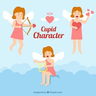 Mooie collectie van cupido karakter in plat design