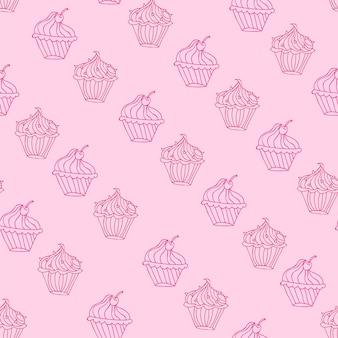 Mooie cupcake dessert naadloze achtergrond vector ontwerp illustratie