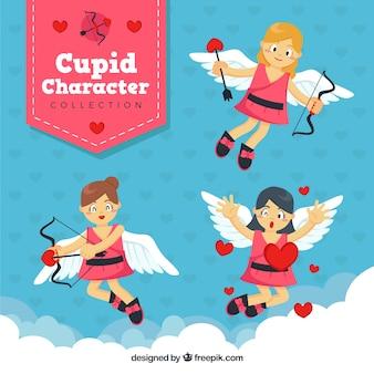 Mooie cupido personages met roze jurkjes
