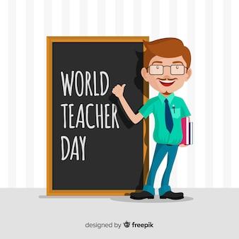 Mooie dag samenstelling van de wereldleraar met een plat ontwerp