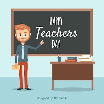Mooie dag van de wereld leraren compositie met platte ontwerp