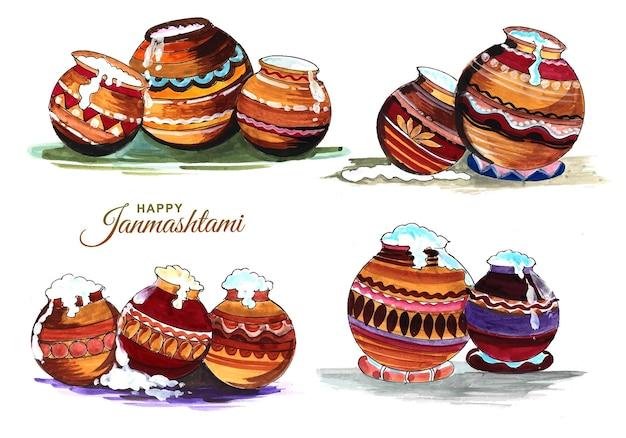 Mooie dahi handi-set in krishna janmashtami-kaartontwerp