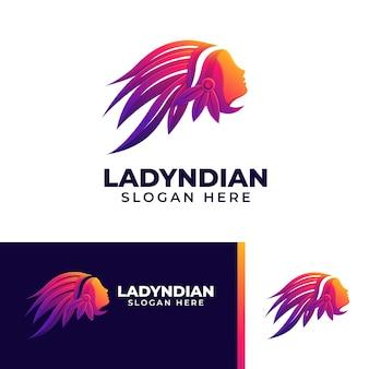 Mooie dame indiase kleurrijke logo sjabloon