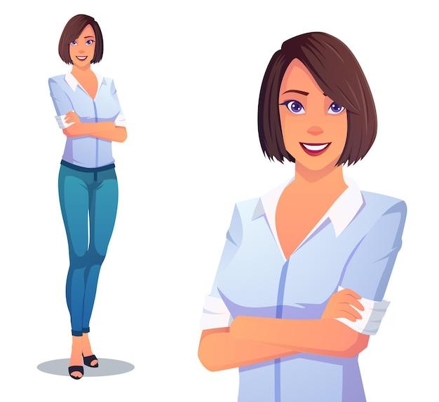 Mooie dame met blauwe broek en wit overhemd met gevouwen armen