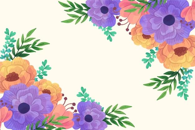 Mooie de lenteachtergrond van bloesem oranje en violette bloemen