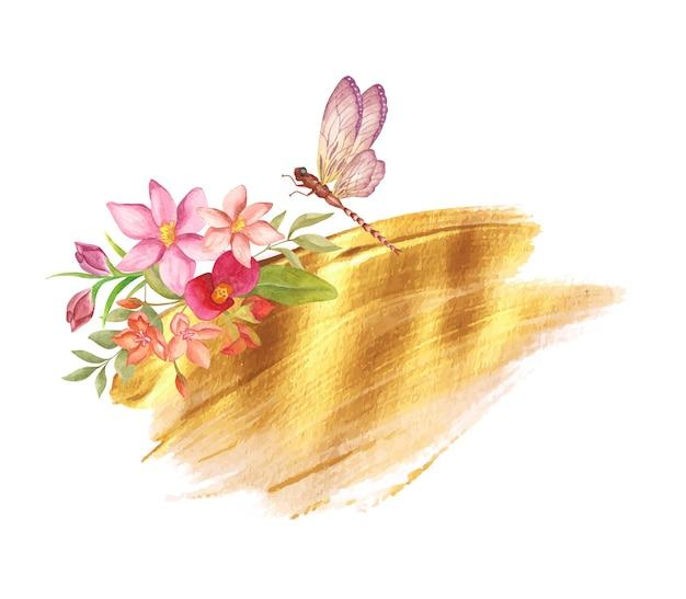 Mooie decoratie van gouden penseelstreek met bloemenelementen en libel