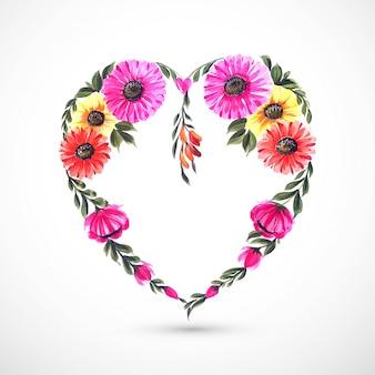 Mooie decoratieve bloem hart kaart