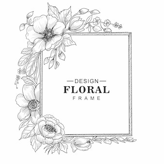 Mooie decoratieve bloemen frame schets achtergrond