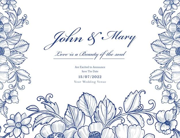 Mooie decoratieve bloemenhuwelijkskaart