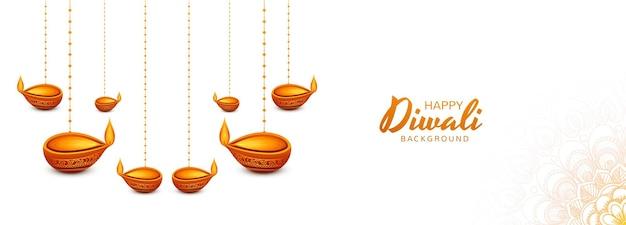 Mooie decoratieve diya olielamp viering banner achtergrond