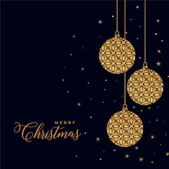 Mooie decoratieve kerstmis gouden ballen