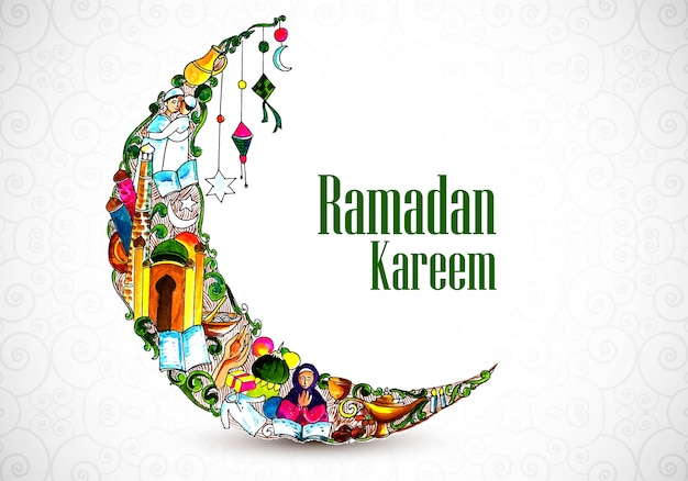 Mooie decoratieve maan ramadan kareem achtergrond