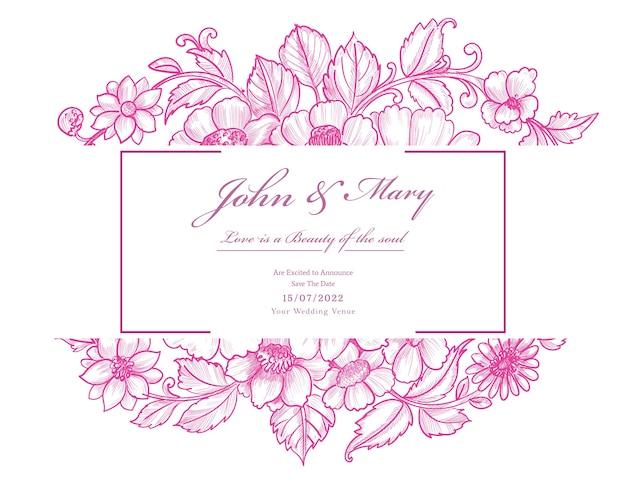 Mooie decoratieve roze bloemenhuwelijkskaart
