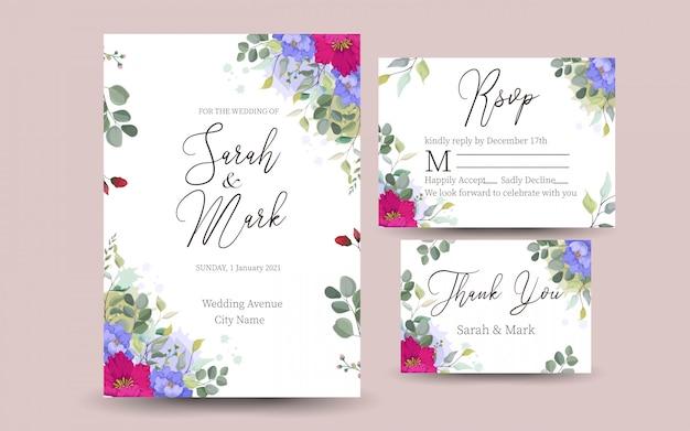 Mooie decoratieve wenskaart of uitnodiging met bloemmotief