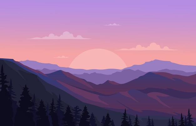 Mooie dennenbos berg panorama landschap vlakke afbeelding