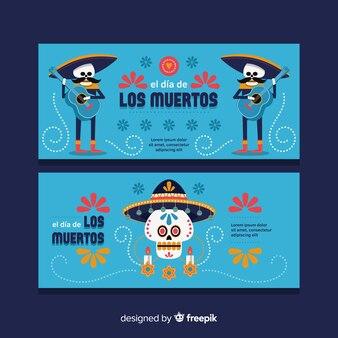 Mooie día de muertos banners met plat ontwerp