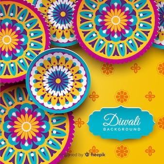 Mooie diwali achtergrond met origami stijl