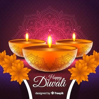 Mooie diwali-achtergrond met realistisch ontwerp