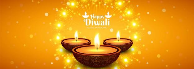 Mooie diwali diya olielamp festival header achtergrond