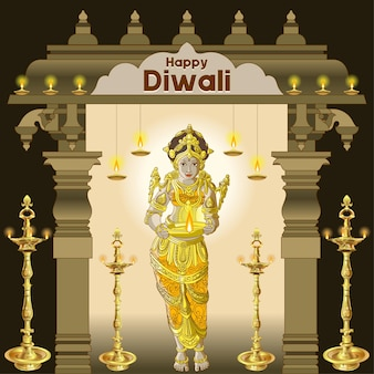 Mooie diwali-groeten met traditionele lamparrangementen