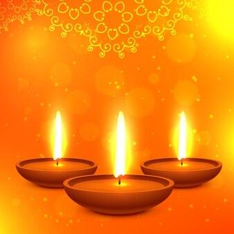 Mooie diwali kaart in oranje kleur