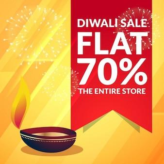Mooie diwali verkoop korting promotionele banner met diya op gele achtergrond