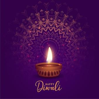 Mooie diya van het diwalifestival op mandalaachtergrond