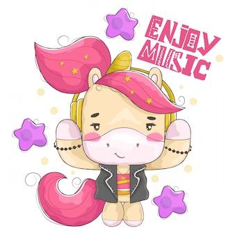 Mooie eenhoorn die naar rockmuziek luistert met schattige kleine ster