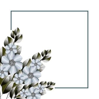 Mooie eenvoudige bloemenframe achtergrond