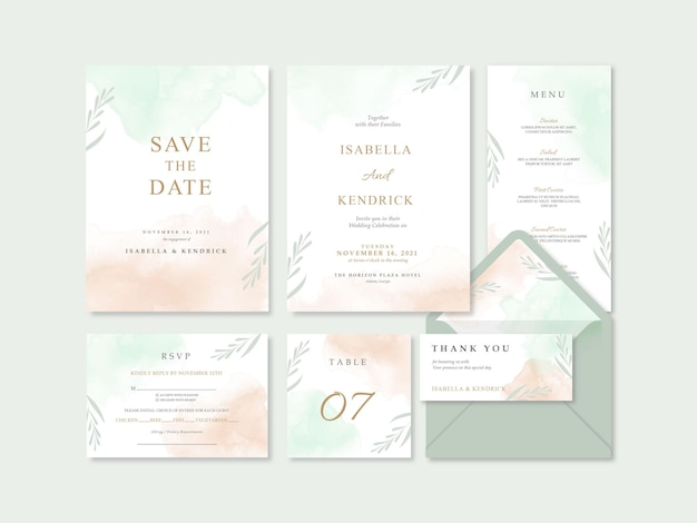 Mooie eenvoudige en schone huwelijksuitnodiging met waterverf