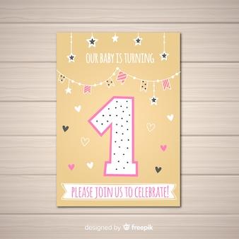 Mooie eerste verjaardag uitnodiging sjabloon