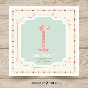 Mooie eerste verjaardagskaart sjabloon