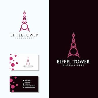 Mooie eiffeltoren logo met visitekaartje logo design