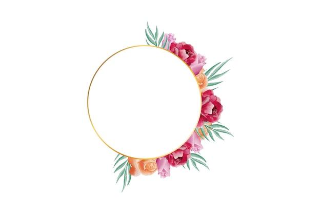 Mooie elegante aquarel bloemen met gouden frame