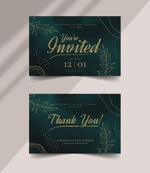 Mooie elegante bewerkbare bruiloft bedankkaartsjabloon met abstracte penseelstreken