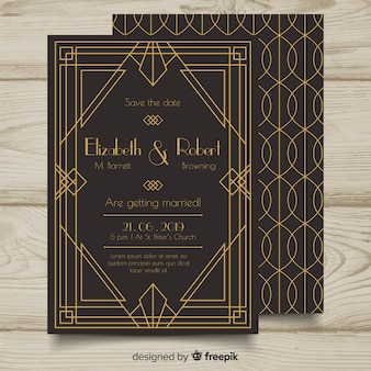 Mooie elegante bruiloft uitnodiging sjabloon in art decostijl