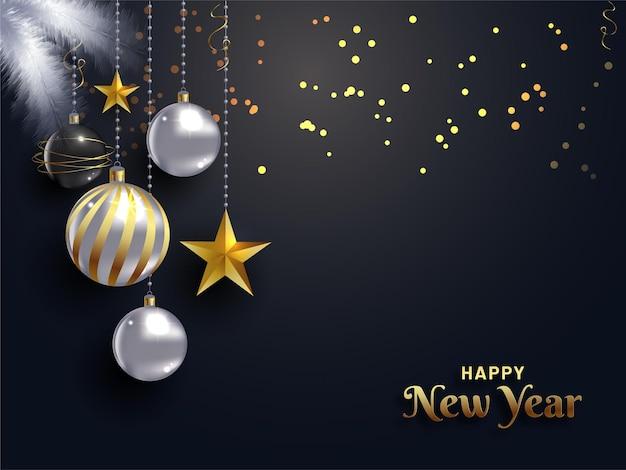 Mooie elegante nieuwjaarskaart vectorillustratie met realistische veer premium vector