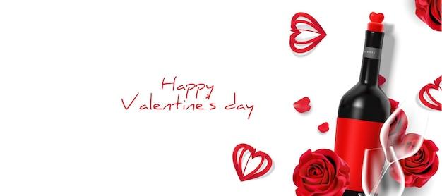 Mooie elegante valentijnsdag realistische plat lag banner
