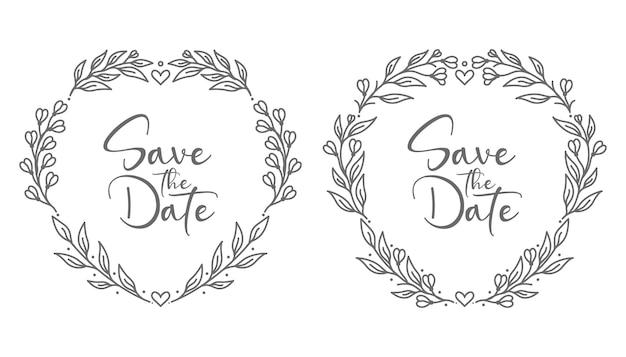Mooie en decoratieve minimale bruiloft badges illustratie