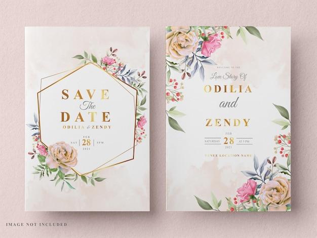 Mooie en elegante bloemen bruiloft uitnodigingskaart