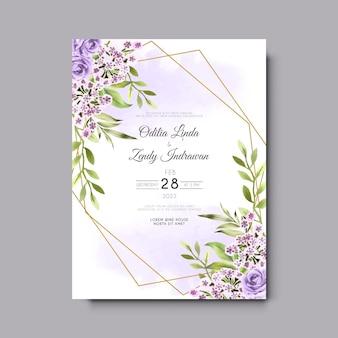 Mooie en elegante bloemen en bladeren aquarel bruiloft uitnodigingskaarten