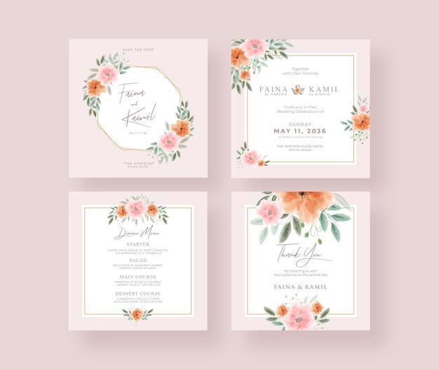 Mooie en elegante bruiloft instagram postverzameling