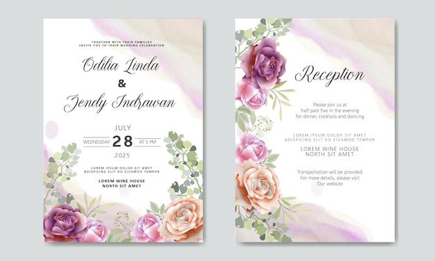 Mooie en elegante bruiloft uitnodigingskaarten met florale thema's