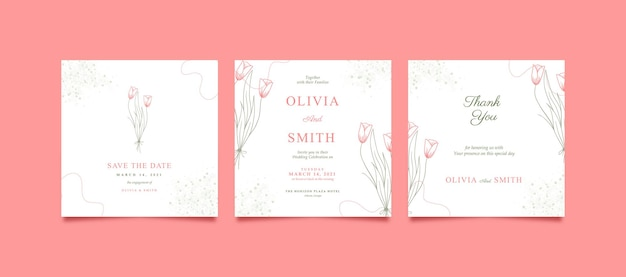 Mooie en minimalistische roze instagram-post voor bruiloft