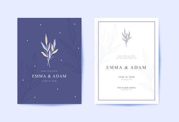 Mooie en moderne paarse trouwkaart