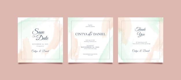 Mooie en romantische aquarel instagram-post voor bruiloft